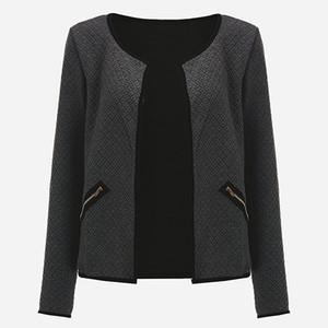 CNCOMNET Büyük Yard Sonbahar Ekose İnce Coats Kadınlar Kısa ceketler Casual Slim Uzun Kollu Blazers Hırkalar Kadın Dış Giyim 4XL Takımları