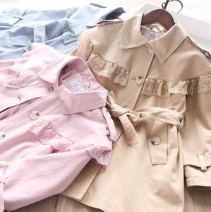 Girls trench coat 2020 fall new kids lace falbala lapel trench coat children single-breasted belt ruffle long outwear A1748