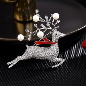 High-End Brooches Christmas Deer Brooch Women Copper Micro Zircon Luxury Pin Brooch Clothing Accessories