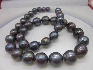 Büyük 12-15 MM Güney Deniz Hakiki Mor Pembe 925 Gümüş Inci Kolye 18