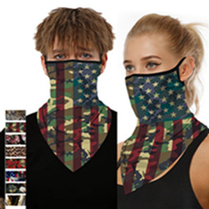 American Flag Printed Sunshade Protective Mask Men And Women Hanging Earmuffs Triangle Scarf Scarf Mask EEA1444