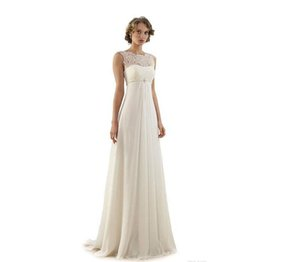 Lace Chiffon Empire Wedding Dresses 2019 Sheer Neck Capped Sleeve A Line Long Chiffon Wedding Dresses Summer Beach Bridal Gowns Hot Selling
