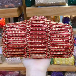 Red Rhinestone Crystal Wedding Purse Hollow Out Clutch Gemstone Diamond Women Evening Clutches Shoulder Mini Handbags
