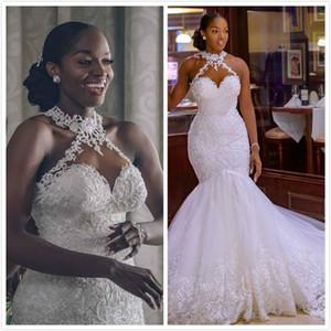 2020 arabo Aso Ebi Vintage merletto in rilievo abiti da sposa pura della sirena del collo abiti da sposa sexy sposa economici abiti ZJ261