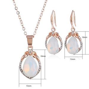 Opal Kolye Küpe Takı Setleri Rose Gold Renk Doğal Taş Su Damlası Kolye Küpe Seti Boho Bildirimi Takı Kadınlar
