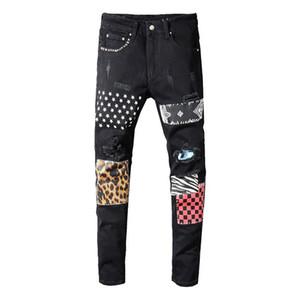 Erkekler perçinler yıldız patchwork siyah kot Trendy streetwear ince uygun streyç kalem pantolon Ripped pantolon baskılı