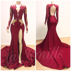2019 New Fashion Borgogna scollo a V profondo Prom Dresses Sirena Applique pizzo maniche lunghe schienale laterale Split abiti da sera formale Sweep Train