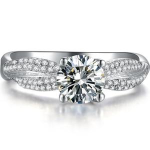 Au585 кольцо роскошь проложили 14karat Moissanites тест положительный ювелирные изделия 1ct синтетические бриллианты кольцо Moissanite женщины белое золото кольцо