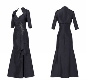 Sexy Black Mother of the Bride Groom Suit Dresses With Jacket Mermaid Side Split Taffeta Sequin Beaded Pleated Plus size Evening Gowns Cheap
