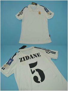 5 # Zidane 7 # RAUL 01 ~ 02 Retro Futbol Jersey Morlientes Figo Onaldo Hierro Roberto Carlos Gerçek Madrid Futbol Gömlek Ev Beyaz Vintage Maillot