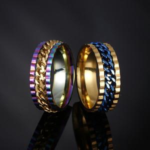 En acier inoxydable Spin Chain Ring chanceux tourner bague bague bagues de mariage bagues hommes femmes bijoux de mode Will et Sandy drop Ship 080461