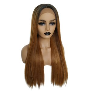 Hot Women Full Wig Ombre Long Straight Synthetic Hair Cosplay Lace Front Wig
