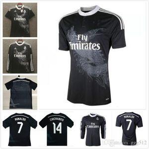 Ronaldo Benzema Isco à manches longues 2014 2015 réel maillot de football rétro Madrid 14 15 chemise troisième de football vintage noir dragon chinois