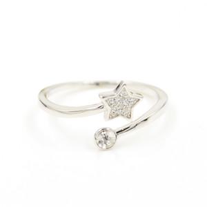 diseño del anillo al por mayor S925 montajes de anillo de plata de ley estrella de apertura regulable joyería libre de la perla de las mujeres de bricolaje