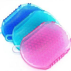 cuir chevelu shampooing bain brosse méridiens double paire de gants de brosse de massage exfolier nettoyage corps de brosse douche silicone laveur T3I5584