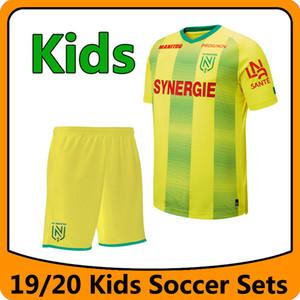 2019-20 Nueva FC Nantes Fútbol conjuntos niños Kit 19 Conjuntos 20 FC Nantes chicos jóvenes amarillo casero niños camisa del uniforme Correr
