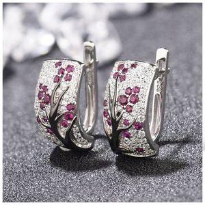 2019 New Plum Blossom Cluster Crystal Zircon Stud Earrings for Women Cubic Zircon Plum Tree Branch Earrings Jewelry