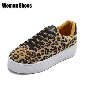 Sneakers Kadın 2019 Bahar Moda Leopar Baskı Kalın Alt Bayanlar PU Rahat Ayakkabı Kadın Loafer Ayakkabı Kadın # 54