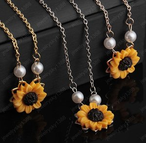 New Fashion Sunflower Leaf Branch Charm Pendant Necklace Jewelry Sweater Necklace Choker for Gifts Girls
