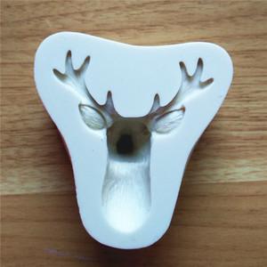 Que adorna la herramienta de Navidad Elk Cabeza de silicona en relieve del molde de la torta de chocolate ciervos Moldes pasta de azúcar del molde DIY hornear galletas Moldes VT0305
