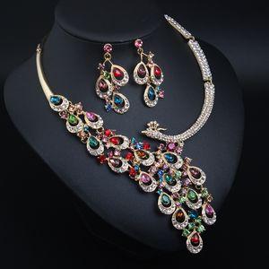 Европейское преувеличенное хрустальное павлина ожерелье серьги ювелирные изделия набор свадебное банкетное платье женское модное ожерелье аксессуары