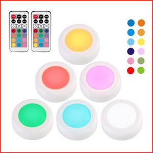 Tap Light Беспроводная сенсорная свет Multi Colored кнопочный Night Lights Беспроводной Изменение цвета светодиодные Puck свет 6 пакет с 2 пульта дистанционного управления