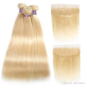 Ishow Hair Brazilian Hair Straight Human Hair Bundles Extensions 3pcs with Lace Frontal Closure 613 Blonde Bundles with Frontal