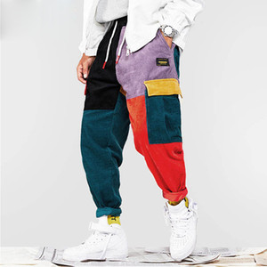 2019 Hip Hip Pantalon Vintage Color Block Patchwork En Velours Côtelé Cargo Sarouel Streetwear Harajuku Jogger Pantalon De Jogging En Coton