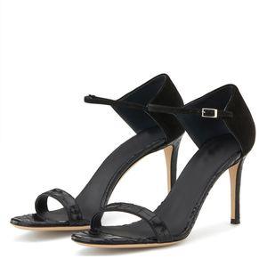 Logo WETKISS Occidente Tendencias encargo de grano del cocodrilo de tacón alto sandalias de verano sandalias de la correa del tobillo de las mujeres sandalias atractivas
