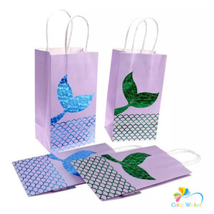 6pcs Blue & Green Glitter Mermaid Tail Paper Favor Bags Treat Bags With Handles Under The Sea Birthday Party Supplies