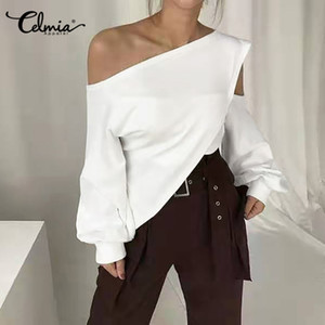 S-5XL Celmia Mulheres Verão Blusas Plus Size Ladies Sólidos Cold Shoulder Túnica Tops elegante shirt de manga comprida Casual Blusas Mujer