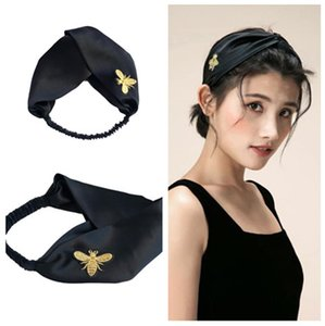 2020 Design 100% Silk Cross Headband Fashion Bee Elastic Hairband For Women Girl Retro black Turban Headwraps Free Shipping