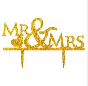 Mr e Mrs con cuore Wedding Cake Toppers Acrilico Decorazione Del Partito Cupcake Stand wedding cake topper