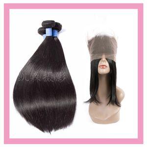 Indian Raw virgem humana cabelo 3 pacotes com 360 laço frontal pré arranjaram feixes retos com 360 fechamentos frontais 4 pcs