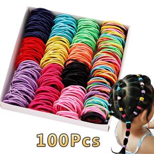 50 / 100pcs / lot Saç bantları Scrunchie Kız Candy Renk Naylon Elastik Kauçuk Bant Saç bandı Çocuk Bebek Kafa Aksesuarları