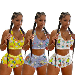Color de Tie-dye moda para mujer traje de baño sujetador del bikini Set Pantalones cortos dos piezas de baño atractivos historieta de la impresión de Tankinis Señora del traje de baño ropa de playa D6201