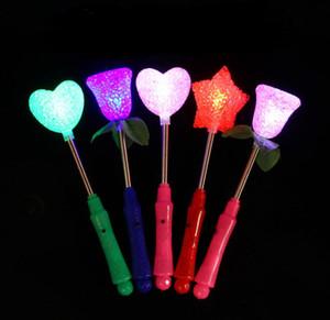 Frete grátis New LED Brilho Estrela Wand Mista Rose Heart Shaped Vara Flashing Light Concert Partido Novidade Led Brinquedos SN671