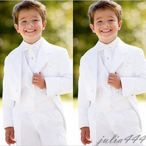 2019 New Style Custom Made White Kid Suits Boy Wedding Suit Ring Bearer Suits Boy's Formal Wear (Jacket+Pants+Tie+Vest)