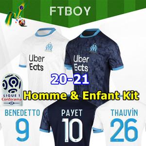 20 21 Olympique De Marseille Soccer Jersey 2020 KAMARA OM Maillot 2021 PAYET BENEDETTO football shirt THAUVIN GUSTAVO Men Kids Kit uniforms