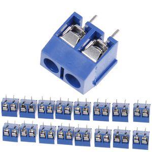 Terminales 10PCS 2-Pin terminales del panel de terminales tornillo con paso de 5,08 mm Bloque conector de montaje en PCB azul Mejoras