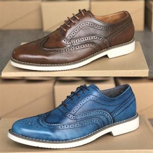 Mens Designer Shoes London Brogue Gatsby Oxfords chausseurs de haute qualité en cuir brun Formateurs Business Party Chaussures de mariage EU39-46