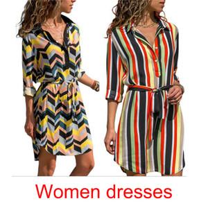 Sommer-T-Shirt-Kleid-Frauen-beiläufige Kleider Herbst Designer-Kleider Langarm-Strand-Kleid 2 Farben S-2XL Größe