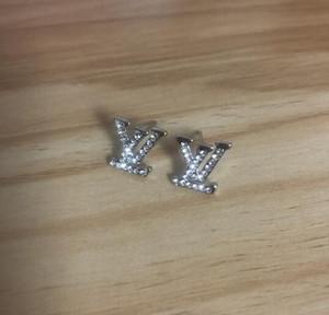 Fashion Designer Orecchini per le donne Monili d'argento di colore brillante della CZ diamante perla di cristallo orecchini lettera