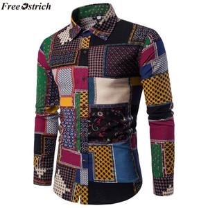 FREE OSTRICH Folk-Custom-Shirts für Männer Vintage Woolen Freizeitmuster Freizeithemd Plus Size Streetwear Chemise Homme Flanell