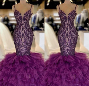 Viola Mermaid Long Prom Dresses 2019 Appliques in pizzo Ruffles in tulle Piano Piano Piano Formali Partito Serale Abiti da sera BC1131