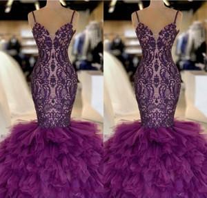 Purple Sirène Long Long Robes De Beau De Lace 2019 Approche de la dentelle Couches Couches Tulle Tulle Longueur Formel Fête Robes de soirée BC1131