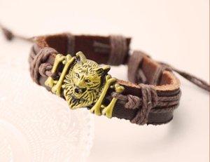 Bracelet tête de loup en cuir bijoux commerce extérieur européens et américains à l'exportation