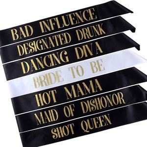 7 Bachelorette Sashes- 6 Bride Tribe Schärpen und 1 Bride To Be Sash für Bachelorette Party Junggesellinnenabschied fit Frauen kleiden