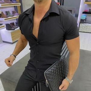 Camicia formale solida per uomo Camicie a maniche corte nere bianche Camicia casual slim fit Abbigliamento estivo Chemise Homme Manche Court 2 #
