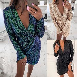 2020 Plus Size Women Bandage Bodycon Dress Party Lady Women Deep V Sequins Wrap Ruched Long Sleeve Dress Vestidos